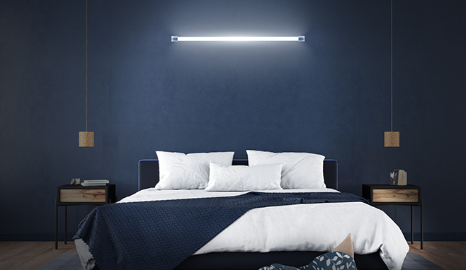 Emergency LED Batten in Bedroom